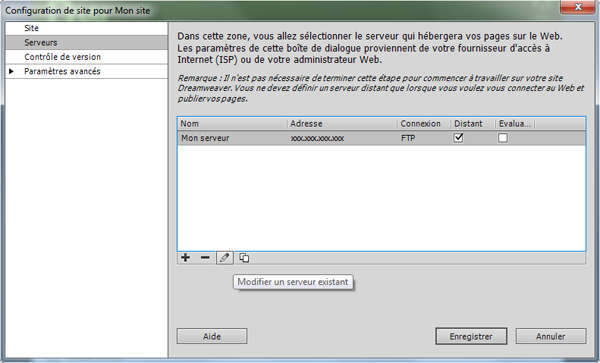 Validation de la configuration dreamweaver